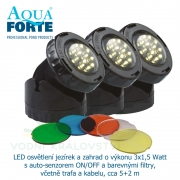 LED osvětlení jezírek a zahrad o výkonu 3x1,5 Watt s auto-senzorem ON/OFF a barevnými filtry, včetně trafa a kabelu, cca 5+2 m