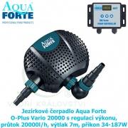 Jezírkové čerpadlo Aqua Forte O-Plus Vario 20000 s regulací výkonu, průtok 20000l/h, výtlak 7m, příkon 34-187W