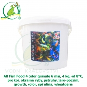 All Fish Food 4 color granule 6 mm, 4 kg, od 8°C, pro koi, okrasné ryby, pstruhy, jaro-podzim, growth, color, spirulina, wheatgerm