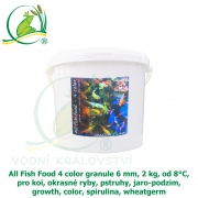 All Fish Food 4 color granule 6 mm, 2 kg, od 8°C, pro koi, okrasné ryby, pstruhy, jaro-podzim, growth, color, spirulina, wheatgerm
