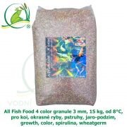 All Fish Food 4 color granule 3 mm, 15 kg, od 8°C, pro koi, okrasné ryby, pstruhy, jaro-podzim, growth, color, spirulina, wheatgerm