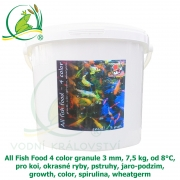 All Fish Food 4 color granule 3 mm, 7,5 kg, od 8°C, pro koi, okrasné ryby, pstruhy, jaro-podzim, growth, color, spirulina, wheatgerm