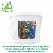 All Fish Food 4 color granule 3 mm, 4 kg, od 8°C, pro koi, okrasné ryby, pstruhy, jaro-podzim, growth, color, spirulina, wheatgerm