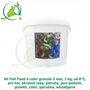 All Fish Food 4 color granule 3 mm, 2 kg, od 8°C, pro koi, okrasné ryby, pstruhy, jaro-podzim, growth, color, spirulina, wheatgerm
