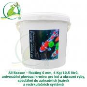 All Season 4 kg, 100% plovoucí krmivo pro koi, okrasné ryby, pstruhy, od 8°C, speciálně do zahradních jezírek a recirkulačních systémů, granule 5-6 mm
