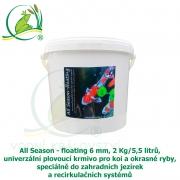 All Season - floating 6mm, 2Kg-5,5L, univerzální plovoucí krmivo pro koi a okrasné ryby, speciálně do zahradních jezírek a recirkulačních systémů