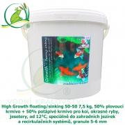 High Growth floating/sinking 50-50 7,5 kg, 50% plovoucí krmivo + 50% potápivé krmivo pro koi, okrasné ryby, jesetery, od 12°C, speciálně do zahradních jezírek a recirkulačních systémů, granule 5-6 mm