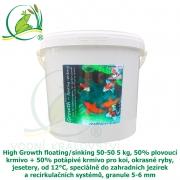 High Growth floating/sinking 50-50 5 kg, 50% plovoucí krmivo + 50% potápivé krmivo pro koi, okrasné ryby, jesetery, od 12°C, speciálně do zahradních jezírek a recirkulačních systémů, granule 5-6 mm
