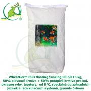 WheatGerm Plus floating/sinking 50-50 15 kg, 50% plovoucí krmivo + 50% potápivé krmivo pro koi, okrasné ryby, jesetery,  od 8°C, speciálně do zahradních jezírek a recirkulačních systémů, granule 5-6mm