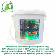 WheatGerm Plus floating/sinking 50-50 5 kg, 50% plovoucí krmivo + 50% potápivé krmivo pro koi, okrasné ryby, jesetery,  od 8°C, speciálně do zahradních jezírek a recirkulačních systémů, granule 5-6mm