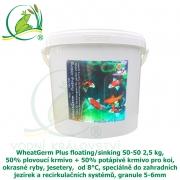 WheatGerm Plus floating/sinking 50-50 2,5 kg, 50% plovoucí krmivo + 50% potápivé krmivo pro koi, okrasné ryby, jesetery,  od 8°C, speciálně do zahradních jezírek a recirkulačních systémů, granule 5-6m