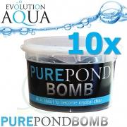 Pure Pond BOMB 10x v Bacterial Pond Liquid, čistící a startovací bakterie pro bio-rovnováhu v jezírku, fungující po celý rok od 4 °C, 10 ks pro 100-800 m3