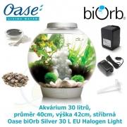 Oase biOrb Classic 30 L Silver EU Halogen Light - Akvárium 30 litrů, průměr 40cm, výška 42cm, stříbrná