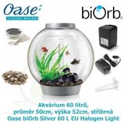 Oase biOrb Classic 60 L Silver EU Halogen Light - Akvárium 60 litrů, průměr 50cm, výška 52cm, stříbrná