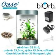 Oase biUbe Silver 35 Halogen Light - Akvárium 35 litrů, průměr 33,5cm, výška 45,5cm, stříbrná
