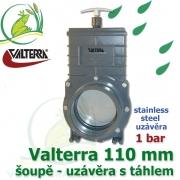 Valterra šoupě nerez 110 mm originál, tažný PVC uzávěr s nerezovým uzávěrem