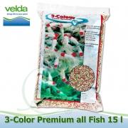 15 litrů 3-color All Fish Food, 3-4 mm krmivo pro veškeré druhy ryb i malých rozměrů, ke krmení  od 8°C