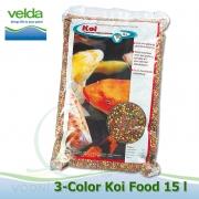 15 litrů 3-color Premium Koi Food, růstové letní krmivo 5-6 mm, pro velké ryby