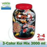 3000 ml 3-color Premium Fish Food, velikosti 2-4 mm, růstové letní krmivo pro malé i velké ryby