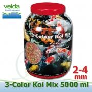 5000 ml 3-color Premium Fish Food, velikosti 2-4 mm, růstové letní krmivo pro malé i velké ryby