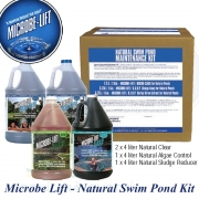 Microbe-Lift Natural Swimming Set pro 100 m3/celý rok, 2x Natural Clear 4l + 1x Natural Algae Control + 1x Natural Sludge reducer, set jezírkových bakterií pro jednu sezónu, pro koupací jezírka a biot