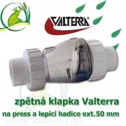 Originální Valterra zpětná klapka na hadice a trubky 50 mm