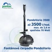 Pondovario 3500, fontánové čerpadlo, Oase Pontec, 3400 l/hod., výtlak 2,6 m, spotřeba 70 Watt, ZDARMA 4 různé fontánové trysky + regulovatelný vývod na vodopád