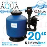 K1 Micro Bead 20 EU PLUS2, včetně 50 l K1 Micro + ZDARMA bakterie, EU plus2 zapojení a rozvody čištění, profi nízko-tlaková filtrace pro koi, chovy ryb do 18-35 m3, jezírka, biotopy 20-100 m3