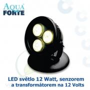LED osvětlení jezírek a zahrad o výkonu 1x12 Watt se senzorem, včetně trafa a kabelu