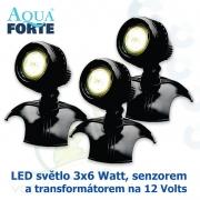 LED osvětlení jezírek a zahrad o výkonu 3x6 Watt se senzorem, včetně trafa a kabelu