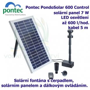 Pontec PondoSolar 600 Control - Solární fontána s čerpadlem, solárním panelem a komfortním dálkovým ovládáním.