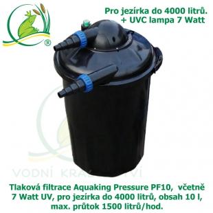 Tlaková filtrace Aquaking Pressure PF10,  včetně 7 Watt UV, pro jezírka do 4000 litrů, obsah 10 l, max. průtok 1500 litrů/hod. - Výprodej
