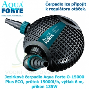 Jezírkové čerpadlo Aqua Forte O-15000 Plus ECO, průtok 1500l/h, výtlak 6 m, příkon 135W