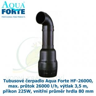 Tubusové čerpadlo Aqua Forte HF-26000, max. průtok 26000 l/h, výtlak 3,5 m, příkon 225W, vnitřní průměr hrdla 80 mm