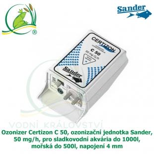Ozonizer Certizon C 50, ozonizační jednotka Sander, 50 mg/h, pro sladkovodní akvária do 1000l, mořská do 500l, napojení 4 mm.