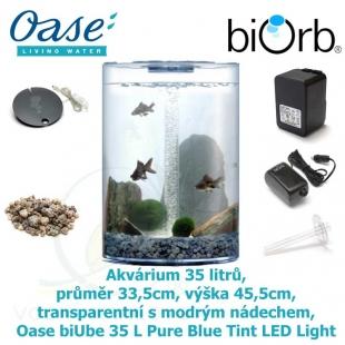 Akvárium 35 litrů, průměr 33,5cm, výška 45,5cm, transparentní s modrým nádechem - Oase biUbe 35 L Pure Blue Tint LED Light