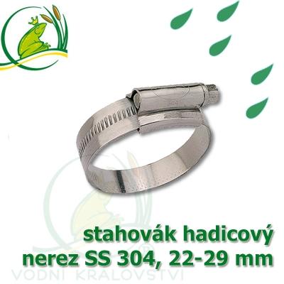 """stahovák nerez 22-29 mm, """"UK made"""" S304, šíře pásky 12 mm"""