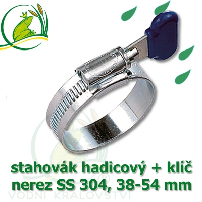 Spona, stahovák 38-54 mm, nerez, S304 s klíčem