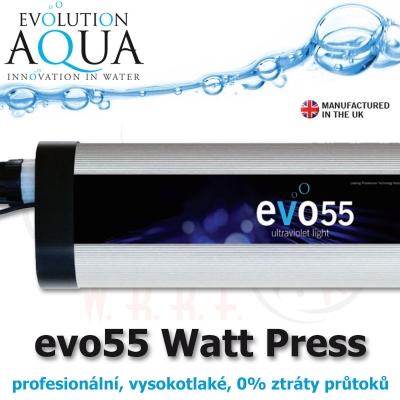 Prefesionální UV zářič evo model 55 Watt, v novém provedení v tlakové verzi, s nulovým odporem.