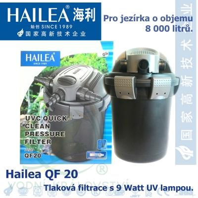 Tlaková filtrace QF20, včetně 9 Watt UV, pro jezírka do 8000 litrů, obsah 20 l, max. průtok 4000 litrů/hod.