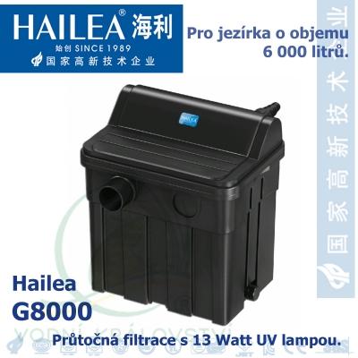 Průtočná filtrace s 13 Watt UV lampou. Do jezírka o objemu 6.000 litrů.
