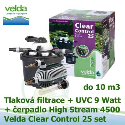 Tlaková filtrace Velda Clear Control 25 Set, UVC lampa 9 Watt, čerpadlo High Stream 4500 pro jezírka do 10 m3