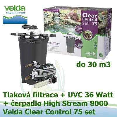 Tlaková filtrace Velda Clear Control 75 Set, UVC lampa 39 Watt, čerpadlo High Stream 8000 pro jezírka do 30 m3