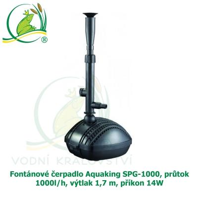 Fontánové čerpadlo Aquaking SPG-1000, průtok 1000l/h, výtlak 1,7 m, příkon 14W