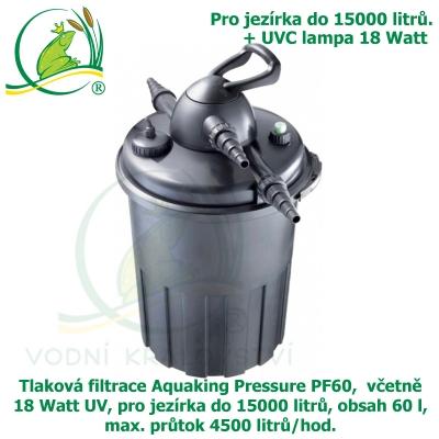 Tlaková filtrace Aquaking Pressure PF60,  včetně 18 Watt UV, pro jezírka do 15000 litrů, obsah 60 l, max. průtok 4500 litrů/hod.
