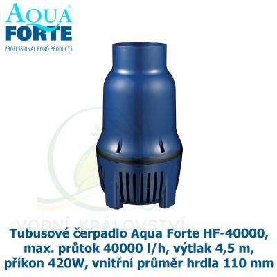 Tubusové čerpadlo Aqua Forte HF-40000, max. průtok 40000 l/h, výtlak 4,5 m, příkon 420W, vnitřní průměr hrdla 110 mm