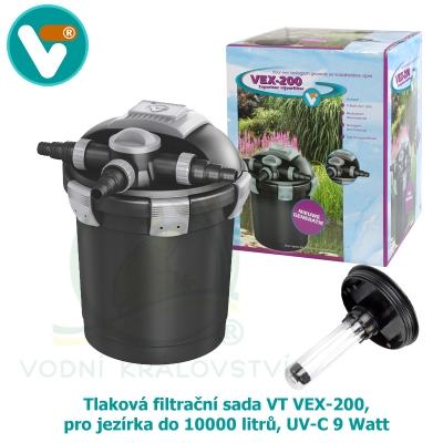 Tlaková filtrační sada VT VEX-200, pro jezírka do 10000 litrů, UV-C 9 Watt