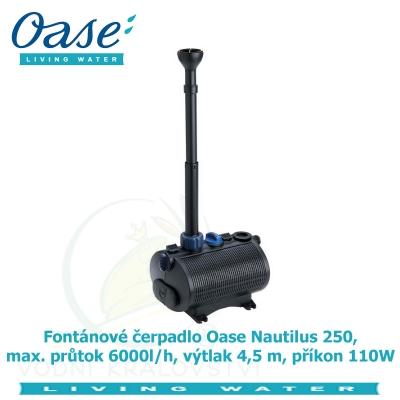 Fontánové čerpadlo Oase Nautilus 250, max. průtok 6000l/h, výtlak 4,5 m, příkon 110W.