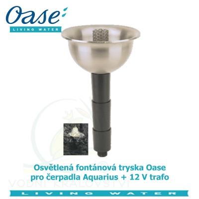 Osvětlená fontánová tryska Oase pro čerpadla Aquarius + 12 V trafo