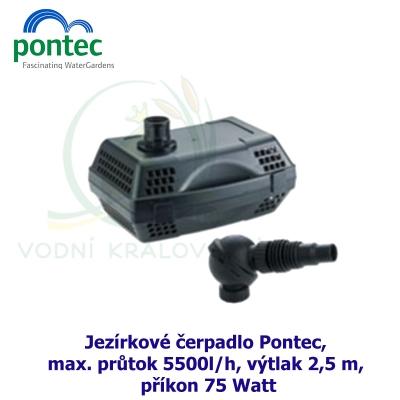 Jezírkové čerpadlo Pontec, max. průtok 5500l/h, výtlak 2,5 m, příkon 75W